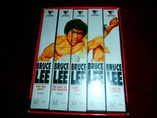 Unique Bruce Lee Boxset Box Set 5 Vhs Tapes Martial Arts Movies Rare