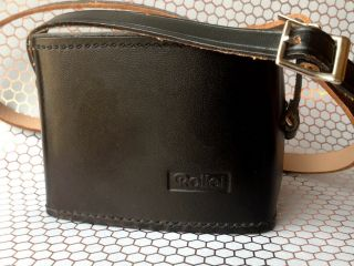 Very Rare Near Rollei 35 Hard Leather Case W/ Straps & Lens Guard