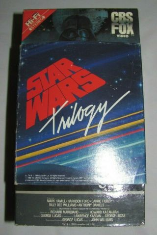 Star Wars Trilogy 1988 Vhs Set W/ Rare Paper Slipcover - Cbs Fox Video