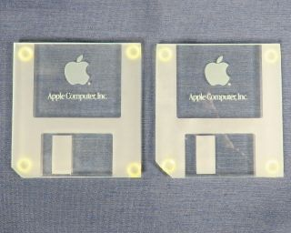 Two Apple Computer Inc Glass Floppy Disk Coasters Rare Mac Collectors Item