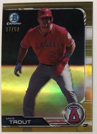 Mike Trout 2019 Bowman Chrome Gold Refractor /50 Rare Angels Non Auto Hot Nm Mvp