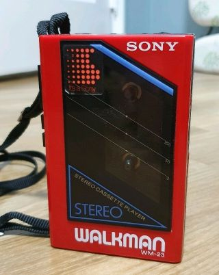 Rare Sony Wm - 23 Walkman Cassette Player With Strap And Back Cover Full