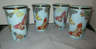 Mackenzie Childs Sky Blue Butterfly Garden Set Of 4 Tumblers Glasses Euc Rare