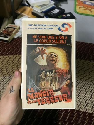 Le Mandir De La Terreur French Canadian Burial Ground Vhs Oop Rare Big Box Slip