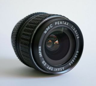 Pentax K - Mount 28mm F3.  5 With Voigtlander Sony E Adapter And Rare Hood