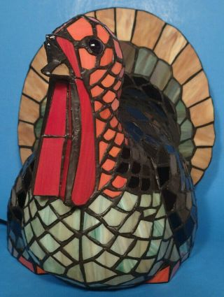 Rare Tiffany Style Stained Glass Turkey Lamp Thanksgiving Fall Deco