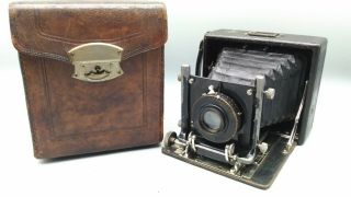 Lily Folding Bellows Camera W/case,  Rokuoh - Sha (the Predecessor Of Konica) Rare