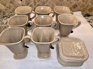 "Set Of 8 Rare Gracious Goods Ceramic Mugs With Saucer In Taupe 6 "" Tall"
